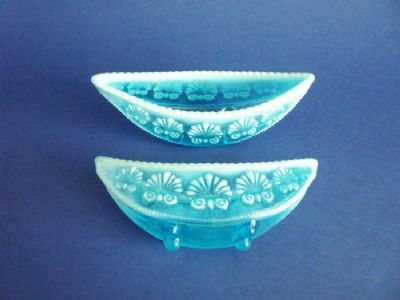 Pair of Davidson's Blue Pearline Glass 'War of the Roses' Posy Vases c1895